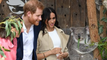 The Duke of Sussex and his wife Meghan, the Duchess of Sussex, meet Ruby, a koala who gave birth to joey Meghan, named after Her Royal Highness.