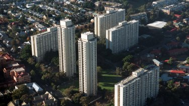 Waterloo's redeveloped public housing estate will become home to about 14,000 Sydneysiders in the next 20 years. The government plans to demolish the site's existing public housing buildings.