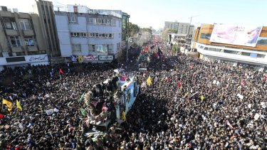 Coffins of General Qassem Soleimani and others in the city of Kerman, Iran.