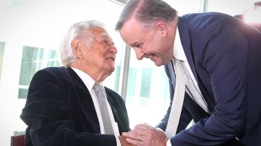 Former prime minister Bob Hawke with  Anthony Albanese at the launch of the book Albanese: Telling it Straight.