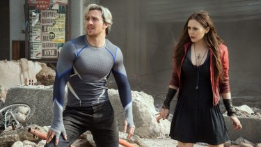 Pietro Maximoff (Aaron Taylor-Johnson) and Wanda Maximoff (Elizabeth Olsen) in Avengers: Age of Ultron.
