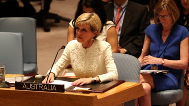Then foreign minister Julie Bishop at the UN Security Council speaks to a resolution on the downing of MH17.