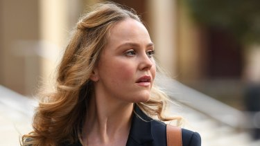 Actor Eryn Jean Norvill leaves the Federal Court in Sydney, where she has given evidence in a defamation trial brought by Geoffrey Rush against Nationwide News.