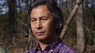 Tahir Hamut, an Uighur whose blood was taken by police in Xinjiang, at his home in Virginia.