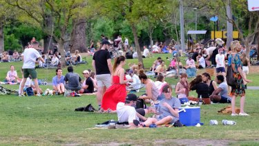 Picnics with up to 10 people could soon be a reality, meaning more busy parks like Edinburgh Gardens in Fitzroy.