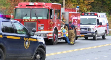 Emergency personnel at the scene of the crash involving a limousine in upstate New York.