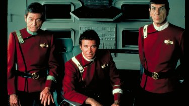 William Shatner (centre), DeForest Kelley (left) and Leonard Nimoy as Kirk, McCoy and Spock in Star Trek II: The Wrath of Khan.