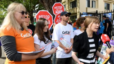 GetUp campaigners in the federal electorate of Wentworth during the byelection last year.