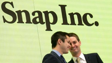Snapchat co-founders Bobby Murphy (left) and CEO Evan Spiegel.