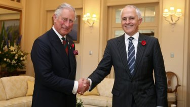 Prince Charles meets with Prime Minister Malcolm Turnbull at Government House in Canberra.