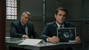 A scene from Mindhunter, which revolves around FBI agents Bill Tench and Holden Ford and the origins of FBI's Behavioral Science Unit.