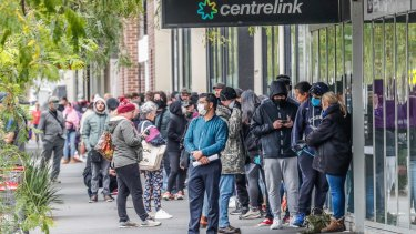 Long queues of people formed outside Centrelink offices around Australia as businesses began shutting their doors due to coronavirus.