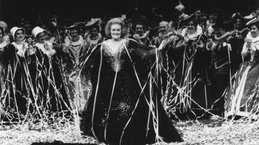 Dame Joan Sutherland covered in streamers after her final performance at the Sydney Opera House.