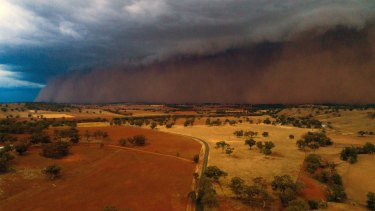 Dust storm near Orange, NSW in January. The relatively stable climate that has supported human civilisation for the past six millennia is likely to shift in the next 50 years because of climate change.