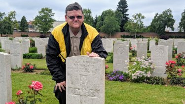 Graham Hopcroft discovers the war grave of his distant uncle at the Faubourg D'amiens Cemetery, Arras.
