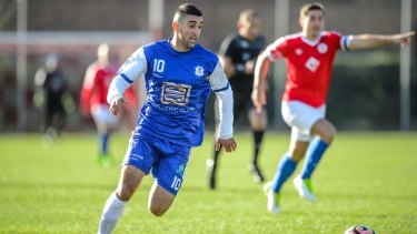 Star striker Stephen Domenici is one of  the few starters Canberra Olympic have retained this season.