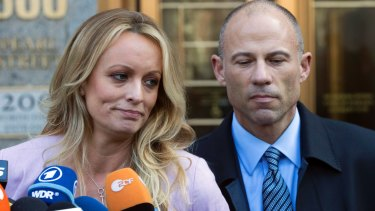 Adult film actress Stormy Daniels with her lawyer Michael Avenatti  outside federal court in New York in April this year.