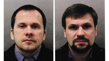 Alexander Mishkin, left, and Ruslan Boshirov travelled under false names to conduct what became a botched assassination plot in Britain.