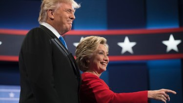 Then Democratic presidential candidate Hillary Clinton and President Donald Trump, who faced off in the first presidential debate in September 2016.