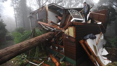 James Pickford was very lucky to escape after a large tree smashed through his Olinda bedroom in the June storms.