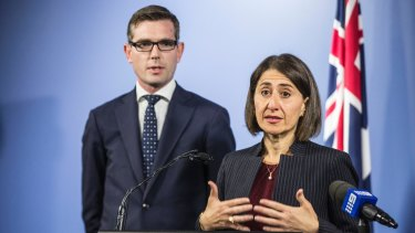 Premier Gladys Berejiklian and Treasurer Dominic Perrottet the day they announced the land titles registry concession.
