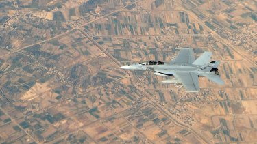 A Royal Australian Air Force F/A-18F Super Hornet over Iraq as part of Operation OKRA.