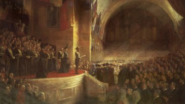 Our Federation does not have to remain set in stone ... Tom Roberts' Federation painting and the opening of the first Parliament of the Commonwealth by the future King George V on MAY 9,  1901.