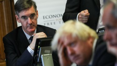 Jacob Rees-Mogg, Conservative lawmaker, left, and Boris Johnson, former foreign secretary.