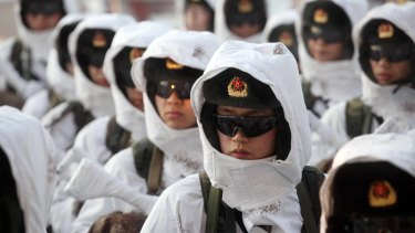 The Chinese People's Liberation Army doing winter drills in 2016.