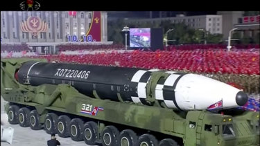 This image from North Korea's KRT broadcaster shows what appears to be a new intercontinental ballistic missile being paraded at Kim Il-sung Square in Pyongyang on October 10.