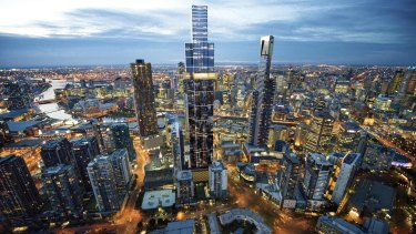 An artist's impression of the completed Australia 108 building, set to be the highest tower of Mebourne's city skyline.