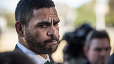 Greg Inglis speaks at a press conference after being charged for drink driving in October.