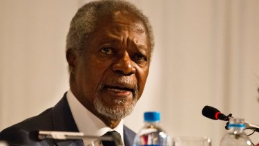 """Former UN secretary-general Kofi Annan in 2017 speaking about the Rohingya plight in Myanmar: """"No cause can justify such senseless killing."""""""