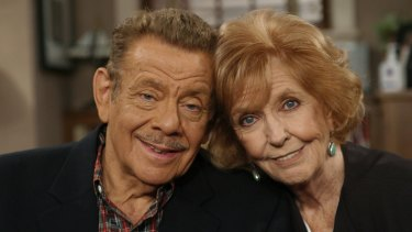 Jerry Stiller and his wife, Anne Meara, pose on the set of The King of Queens.