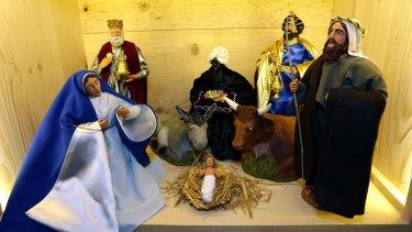 A Christmas nativity scene in Marseille, France.