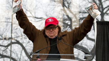 Film director Michael Moore speaking at the Women's March in Washington D.C. in 2017.