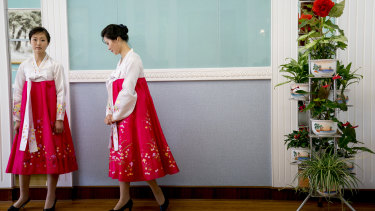 Service staff  ready for the high-level lunch at the Park Hwa Guest House in Pyongyang.
