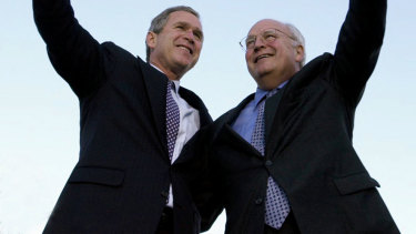 Then Republican presidential candidate George W. Bush and his running mate, Dick Cheney, in 2000.