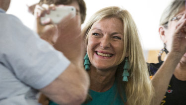 Fiona Patten celebrates after retaining her Upper House seat.