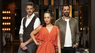 This week, we're down to the top 10 on MasterChef. Pictured here are judges Jock Zonfrillo, Melissa Leong and Andy Allen.