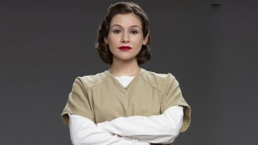 Yael Stone plays Lorna Morello, pictured here early in the series, in Orange is the New Black.