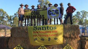 Protesters opposing Santos' Narrabri gas project.