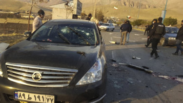 This photo, released by the semi-official Fars News Agency, shows the scene where Mohsen Fakhrizadeh was killed.