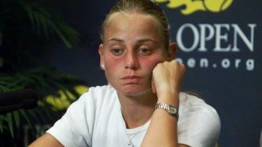 Jelena Dokic faces media in 2000. She was 16.