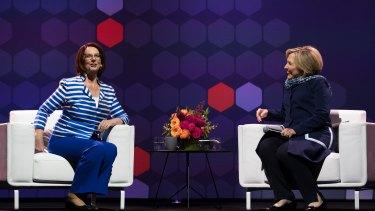 Hillary Rodham Clinton and Julia Gillard speak as part of The Growth Faculty's Women World Changers speaker series.