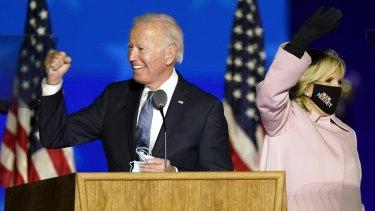 Democratic presidential candidate Joe Biden with his wife, Jill Biden, in Wilmington, Delaware.