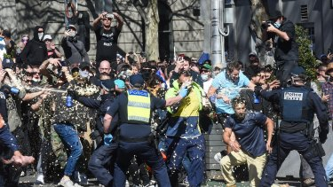 An anti-lockdown protest in Melbourne on Saturday.