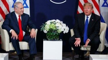 President Donald Trump meets Israeli Prime Minister Benjamin Netanyahu in January 2018.