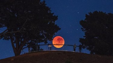 The blood moon seen from the National Arboretum, Canberra, on Saturday, July 28, 2018.