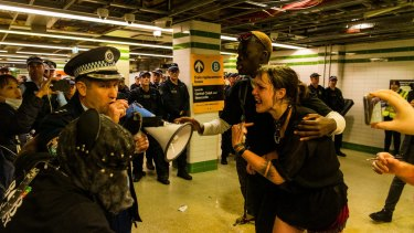 After the peaceful rally hours earlier, protesters clashed with police and were funnelled into Central station.